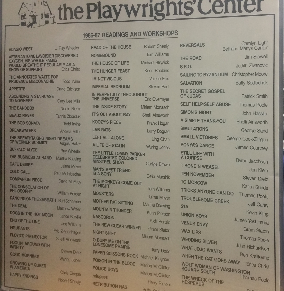 Poster listing the 1986-87 readings and workshops at the Playwrights' Center