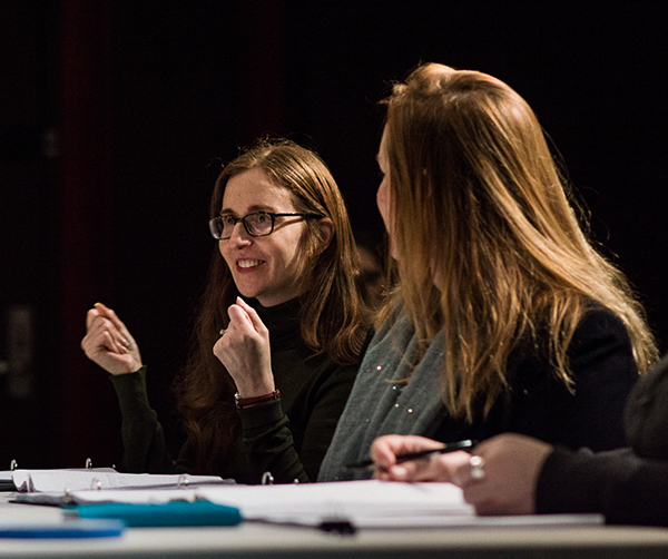 Director Hayley Finn and playwright Meg Miroshnik workshop QUIVER at the Playwrights' Center. Photo by Theo Goodell.