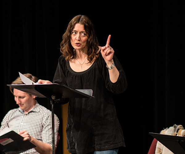 Actor Christina Baldwin workshops Meg Miroshnik's QUIVER at the Playwrights' Center. Photo by Theo Goodell.