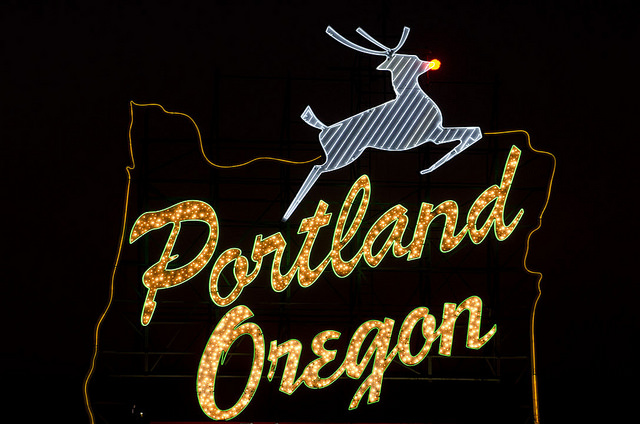 Portland Oregon sign, creative commons license, flickr user Torsten Kjellstrand/2011