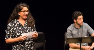2015-16 Many Voices Fellow Cristina Castro introduces a scene from her play How the Colds Were Razed (As Told by Gorilla Girl) at the 2015 PlayLabs Playwriting Fellows Showcase. Photo © Anna Min, 2015