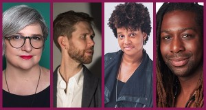 Full color headshots of playwrights Erin Courtney, Philip Dawkins, Charly Evon Simpson, and James Anthony Tyler.