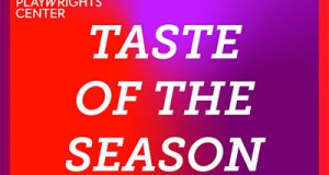 A read and purple box with the Playwrights' Center logo and the words TASTE OF THE SEASON in white