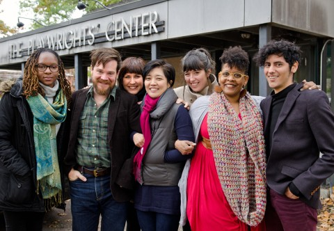2017-18 playwriting fellows outside of the Playwrights' Center