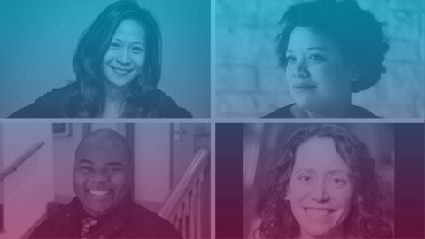 Headshots of May Adrales, Martine Green-Rogers, H. Adam Harris, and Sarah Myers, smiling.