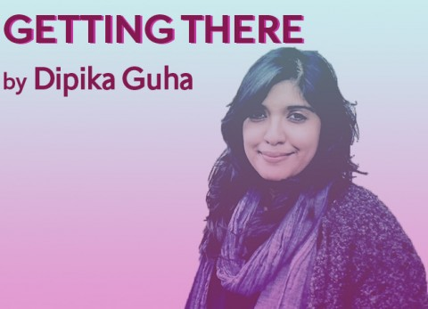 Playwright Dipika Guha looks directly at the camera with a smile. She is wearing a  knit sweater with a scarf draped around her shoulders. The words GETTING THERE by Dipika Guha appear in the top left corner.