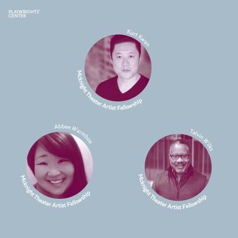 The 2020-2021 McKnight Theater Artist Fellows Kurt Kwan (Actor), Abbee Warmboe (Properties Designer), and Talvin Wilks (Director)