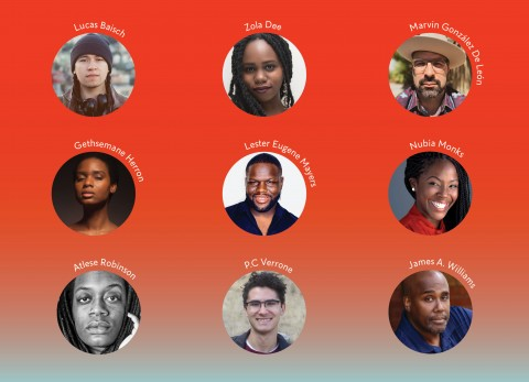 The headshots of 2021–2022 Jerome Fellows Lucas Baisch, Marvin González De León, Gethsemane Herron, and Nubia Monks; Many Voices Fellows Zola Dee, Lester Eugene Mayers, and P.C. Verrone; and Many Voices Mentees Atlese Robinson and James A. Williams.