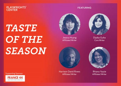The title card for Taste of the Season. The image features headshots of four playwrights, Dipika Guha, Jessica Huang, Harrison David Rivers, and Rhiana Yazzie. On the left hand side, the Playwrights' Center logo is white.