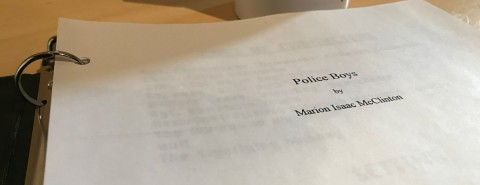 Picture of the cover page of the script for POLICE BOYS by Marion McClinton