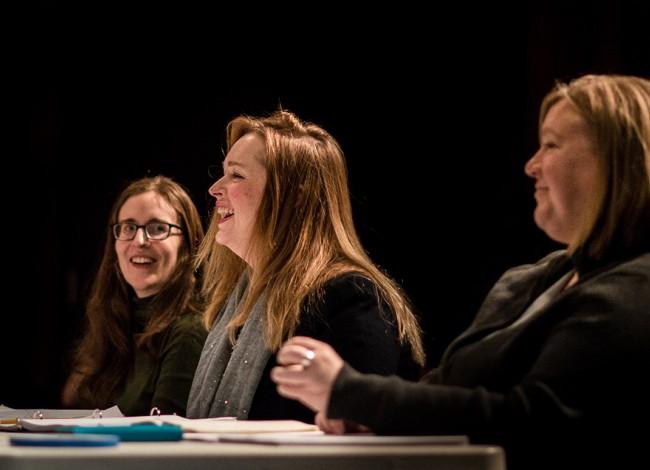 Director Hayley Finn, playwright Meg Miroshnik, and dramaturg Wendy Weckwerth workshop QUIVER at the Playwrights' Center