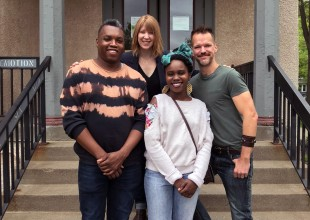 Director of membership programs Hannah Joyce-Hoven with 2017-18 Core Apprentices Carlos Sirah, Dionna Michelle Daniel, and Kirk Boettcher on the steps of the Playwrights' Center