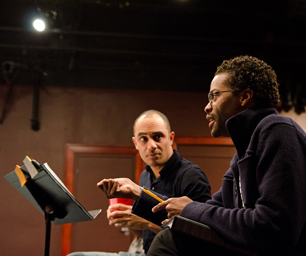 Director Saheem Ali and playwright Harrison David Rivers workshop THE BANDAGED PLACE at the Playwrights' Center. Photo by Paula Keller.