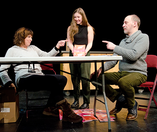 Barbara Chisholm, Sophina Saggau, and Jim Lichtscheidl in a reading of Sherry Kramer's THREE QUARTER INCHES OF SKY at the Playwrights' Center. Photo by Paula Keller.