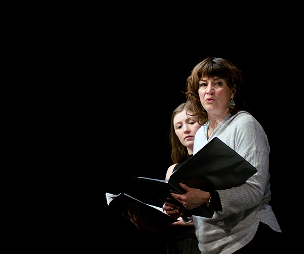 Sophina Saggau and Barbara Chisholm in a reading of Sherry Kramer's THREE QUARTER INCHES OF SKY at the Playwrights' Center. Photo by Paula Keller.