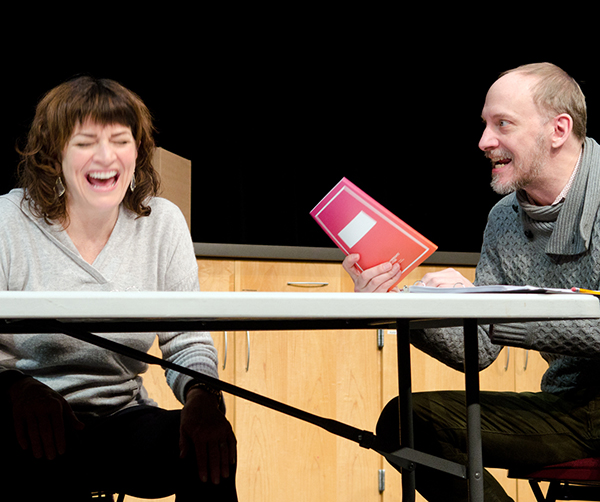 Barbara Chisholm and Jim Lichtscheidl in a reading of Sherry Kramer's THREE QUARTER INCHES OF SKY at the Playwrights' Center. Photo by Paula Keller.