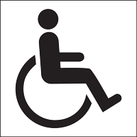 This wheelchair symbol indicates access for individuals with limited mobility, including wheelchair users.